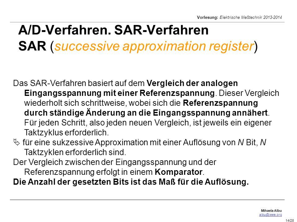 Mihaela Albu albu@ieee.org Vorlesung: Elektrische Meßtechnik 2013-2014 14/28 A/D-Verfahren. SAR-Verfahren SAR (successive approximation register) Das