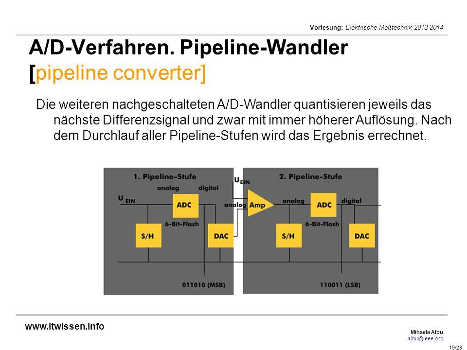 Mihaela Albu albu@ieee.org Vorlesung: Elektrische Meßtechnik 2013-2014 19/28 A/D-Verfahren. Pipeline-Wandler [pipeline converter] Die weiteren nachges
