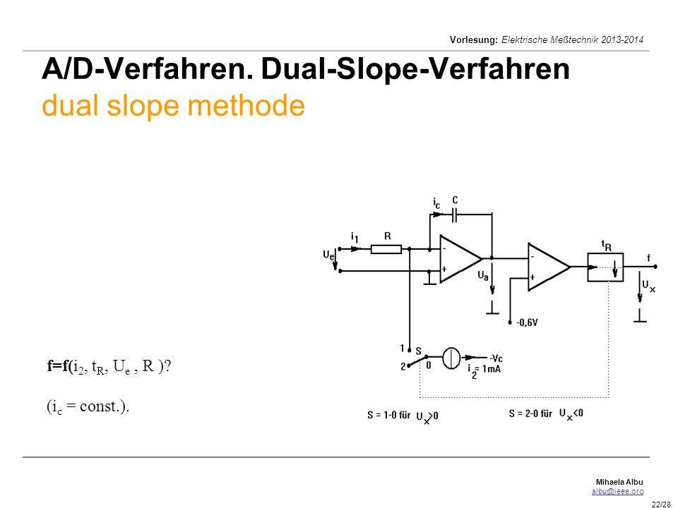 Mihaela Albu albu@ieee.org Vorlesung: Elektrische Meßtechnik 2013-2014 22/28 A/D-Verfahren. Dual-Slope-Verfahren dual slope methode f=f(i 2, t R, U e,