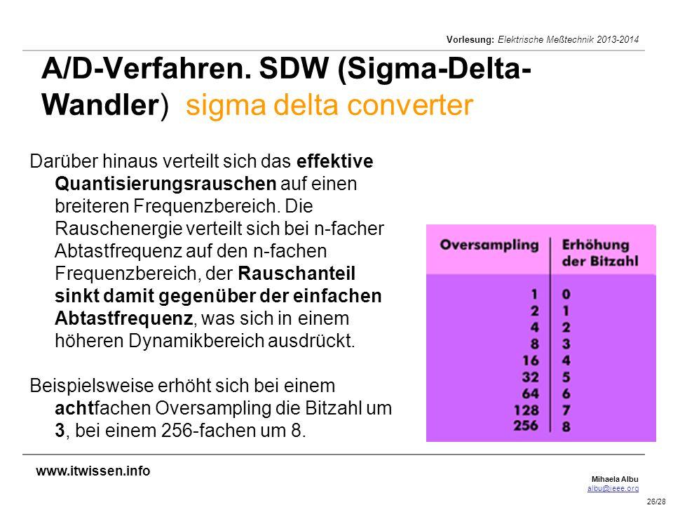 Mihaela Albu albu@ieee.org Vorlesung: Elektrische Meßtechnik 2013-2014 26/28 A/D-Verfahren. SDW (Sigma-Delta- Wandler) sigma delta converter Darüber h