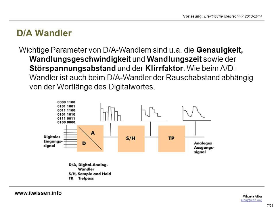 Mihaela Albu albu@ieee.org Vorlesung: Elektrische Meßtechnik 2013-2014 7/28 D/A Wandler Wichtige Parameter von D/A-Wandlern sind u.a. die Genauigkeit,