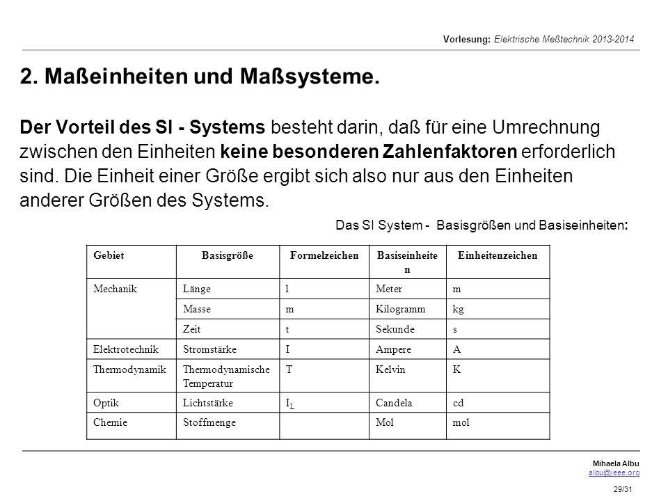 Mihaela Albu albu@ieee.org Vorlesung: Elektrische Meßtechnik 2013-2014 29/31 2. Maßeinheiten und Maßsysteme. Der Vorteil des SI - Systems besteht dari