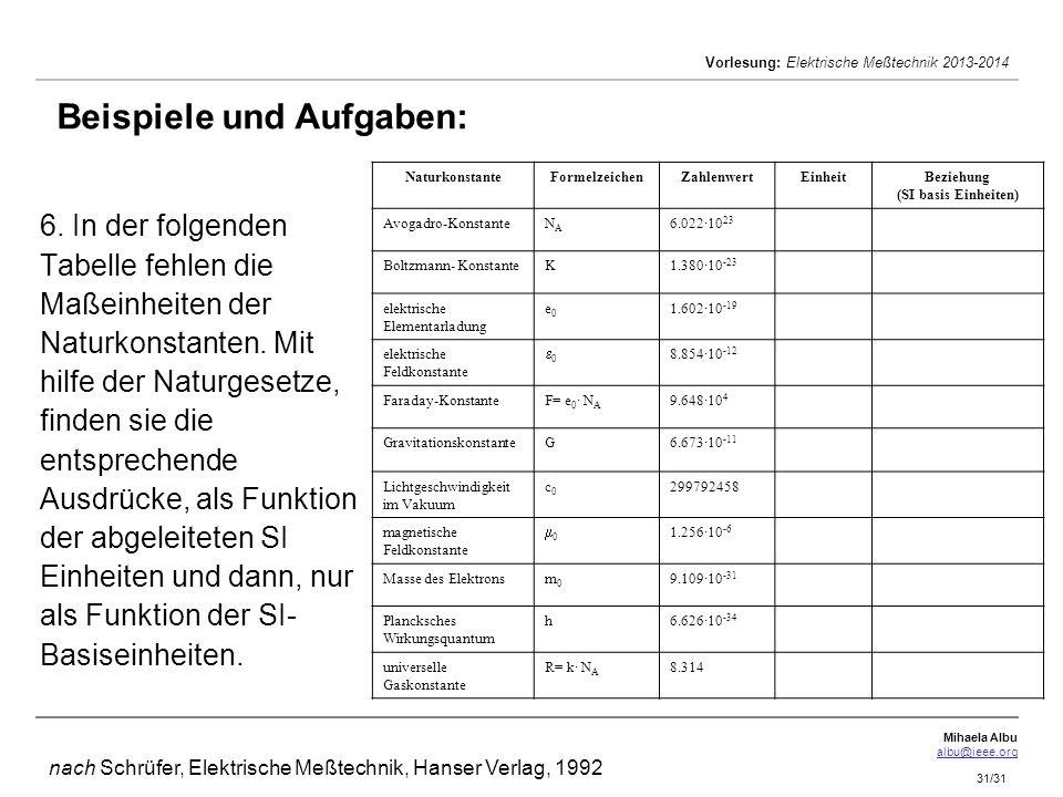 Mihaela Albu albu@ieee.org Vorlesung: Elektrische Meßtechnik 2013-2014 31/31 6. In der folgenden Tabelle fehlen die Maßeinheiten der Naturkonstanten.