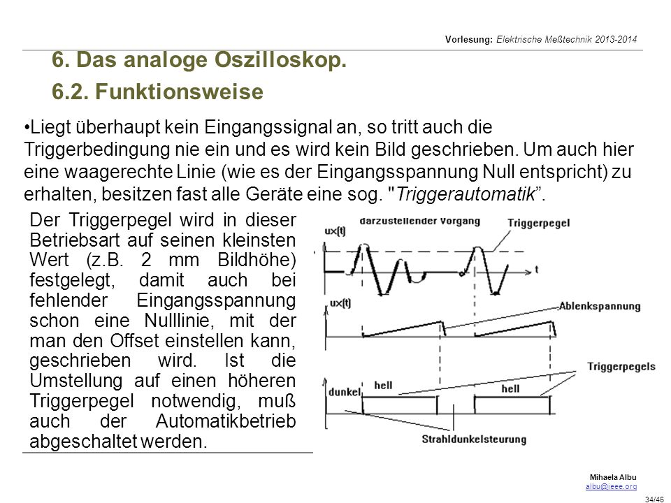 Mihaela Albu albu@ieee.org Vorlesung: Elektrische Meßtechnik 2013-2014 34/46 6.
