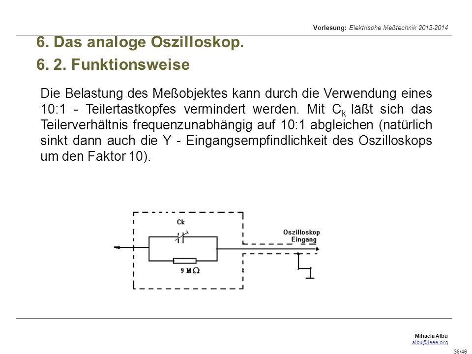 Mihaela Albu albu@ieee.org Vorlesung: Elektrische Meßtechnik 2013-2014 38/46 6.