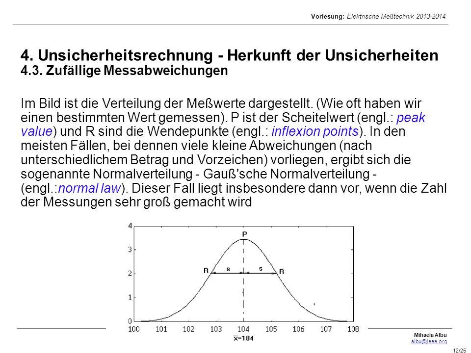 Mihaela Albu albu@ieee.org Vorlesung: Elektrische Meßtechnik 2013-2014 12/25 4. Unsicherheitsrechnung - Herkunft der Unsicherheiten 4.3. Zufällige Mes