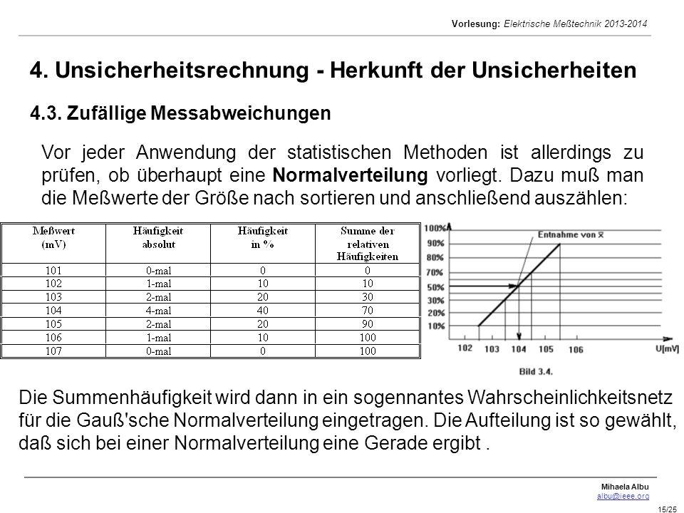 Mihaela Albu albu@ieee.org Vorlesung: Elektrische Meßtechnik 2013-2014 15/25 4. Unsicherheitsrechnung - Herkunft der Unsicherheiten 4.3. Zufällige Mes