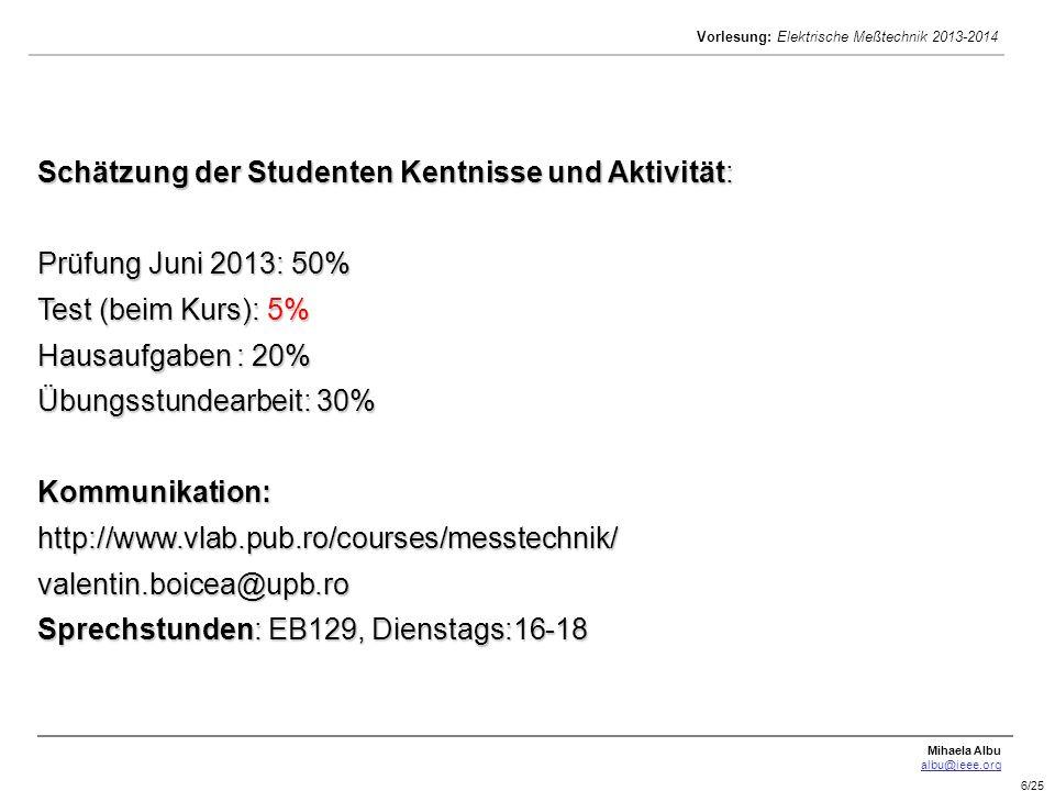 Mihaela Albu albu@ieee.org Vorlesung: Elektrische Meßtechnik 2013-2014 6/25 Schätzung der Studenten Kentnisse und Aktivität: Prüfung Juni 2013: 50% Te