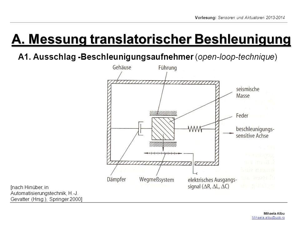 Mihaela Albu Mihaela.albu@upb.ro Vorlesung: Sensoren und Aktuatoren 2013-2014 A1.