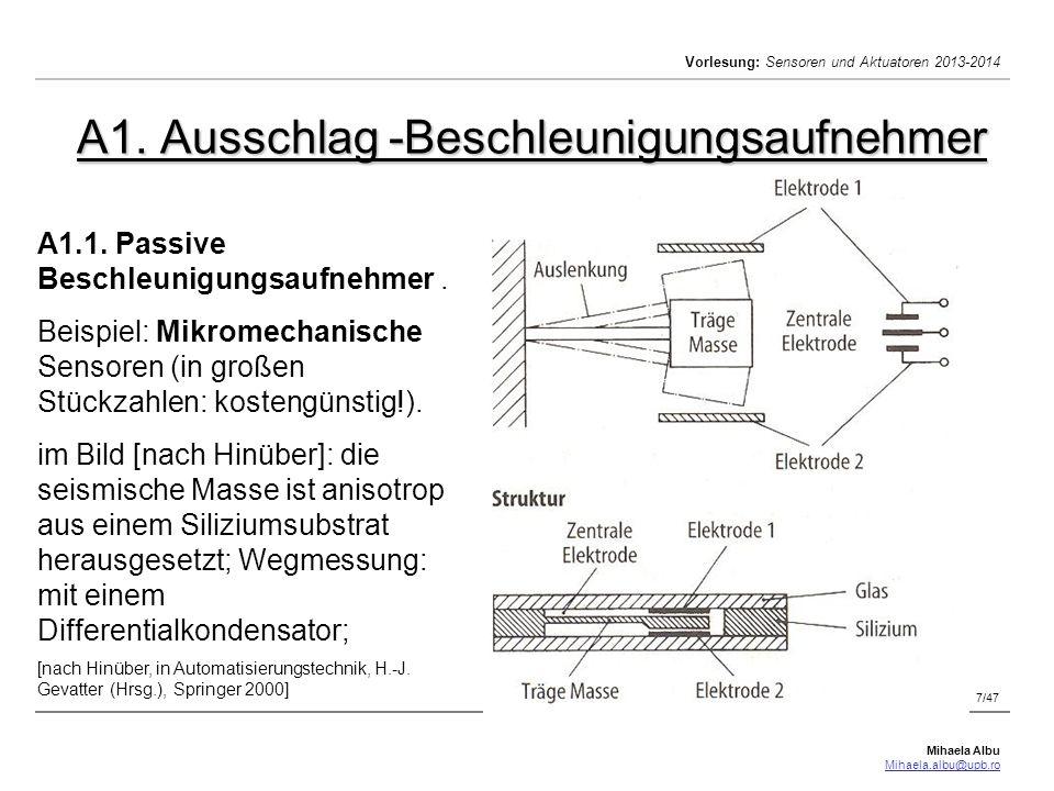 Mihaela Albu Mihaela.albu@upb.ro Vorlesung: Sensoren und Aktuatoren 2013-2014 Geschwindigkeitsmessung.