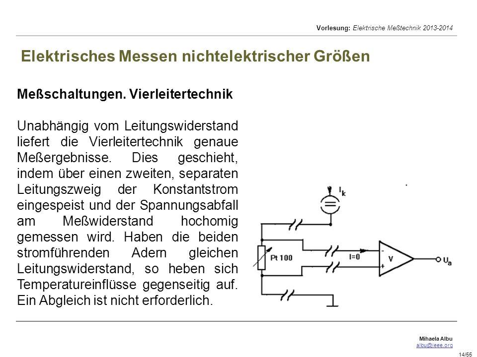 Mihaela Albu albu@ieee.org Vorlesung: Elektrische Meßtechnik 2013-2014 14/55 Elektrisches Messen nichtelektrischer Größen Meßschaltungen. Vierleiterte