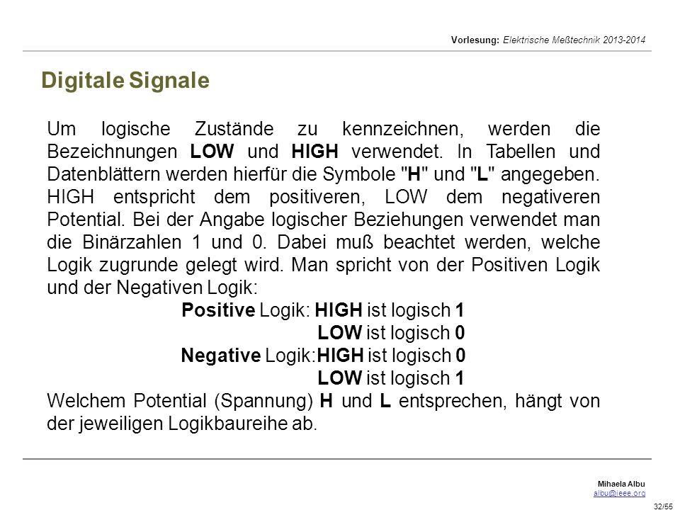 Mihaela Albu albu@ieee.org Vorlesung: Elektrische Meßtechnik 2013-2014 32/55 Digitale Signale Um logische Zustände zu kennzeichnen, werden die Bezeich