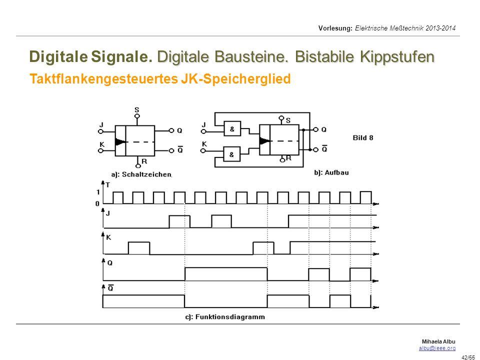 Mihaela Albu albu@ieee.org Vorlesung: Elektrische Meßtechnik 2013-2014 42/55 Digitale Bausteine. Bistabile Kippstufen Digitale Signale. Digitale Baust