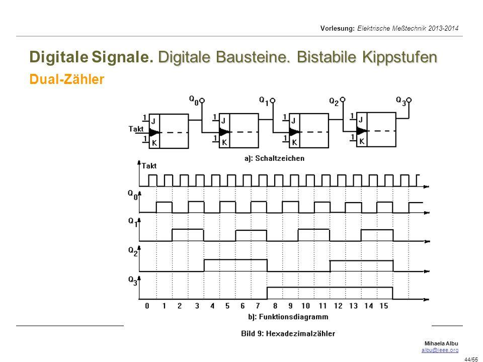 Mihaela Albu albu@ieee.org Vorlesung: Elektrische Meßtechnik 2013-2014 44/55 Digitale Bausteine. Bistabile Kippstufen Digitale Signale. Digitale Baust