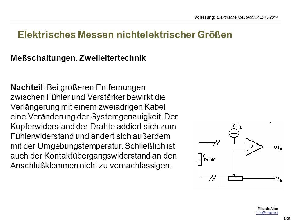 Mihaela Albu albu@ieee.org Vorlesung: Elektrische Meßtechnik 2013-2014 10/55 Elektrisches Messen nichtelektrischer Größen Meßschaltungen.