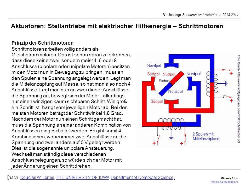 Mihaela Albu Mihaela.albu@upb.ro Vorlesung: Sensoren und Aktuatoren 2013-2014 Aktuatoren: Stellantriebe mit elektrischer Hilfsenergie – Schrittmotoren [ nach Douglas W.