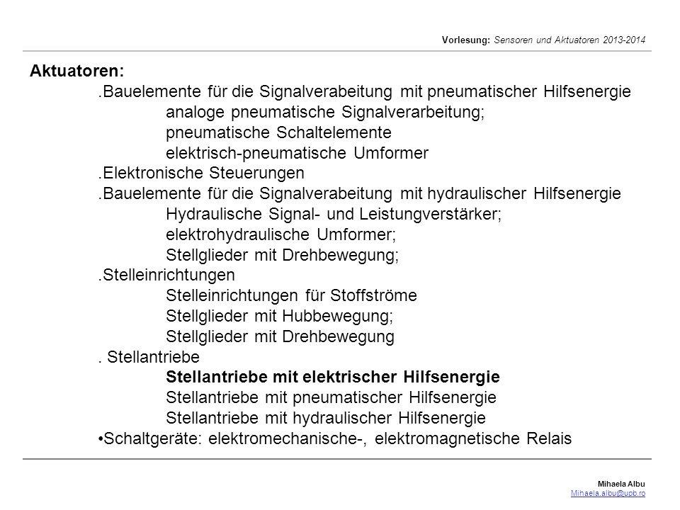 Mihaela Albu Mihaela.albu@upb.ro Vorlesung: Sensoren und Aktuatoren 2013-2014 Aktuatoren: Stellantriebe mit elektrischer Hilfsenergie – Schrittmotoren [nach Thomas E.