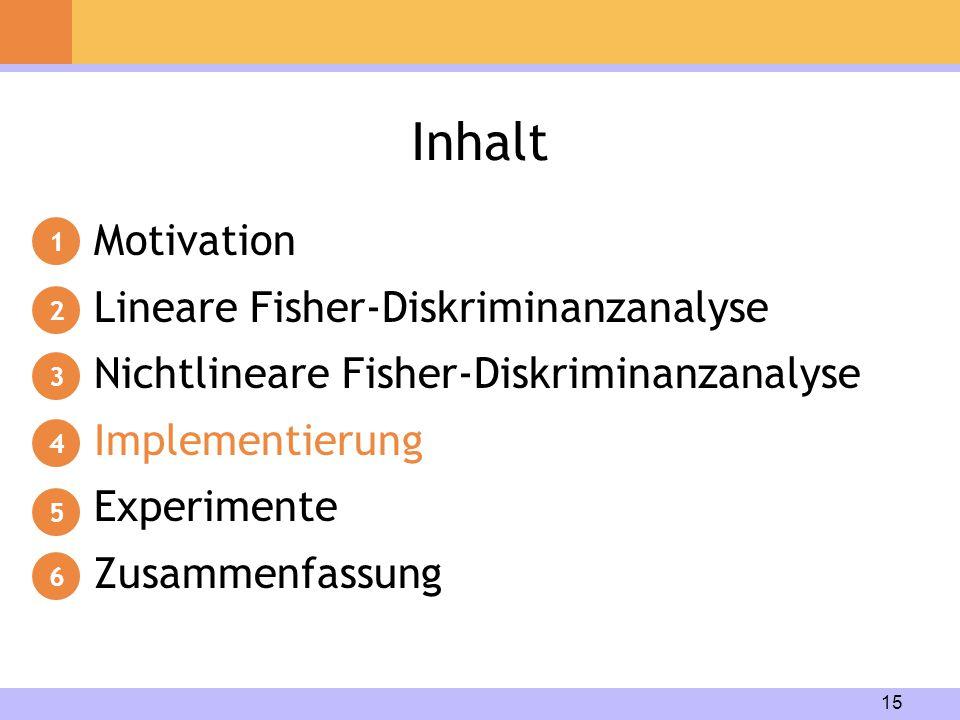 15 Inhalt Motivation Lineare Fisher-Diskriminanzanalyse Nichtlineare Fisher-Diskriminanzanalyse Implementierung Experimente Zusammenfassung 1 2 3 4 5