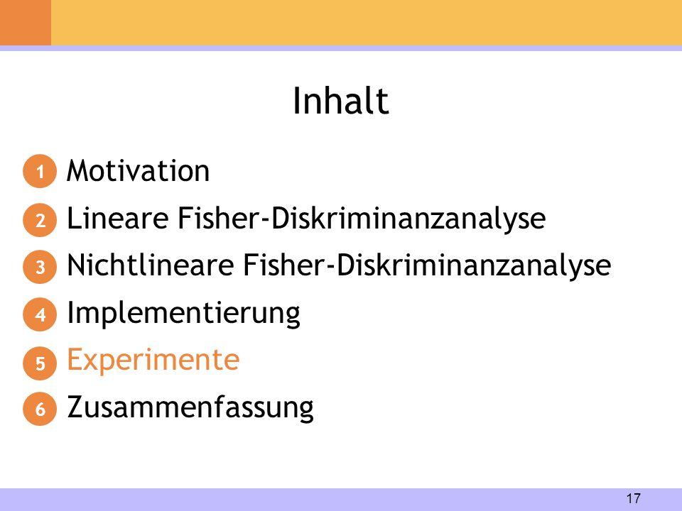 17 Inhalt Motivation Lineare Fisher-Diskriminanzanalyse Nichtlineare Fisher-Diskriminanzanalyse Implementierung Experimente Zusammenfassung 1 2 3 4 5