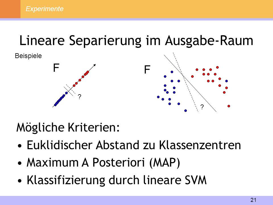 21 Lineare Separierung im Ausgabe-Raum Mögliche Kriterien: Euklidischer Abstand zu Klassenzentren Maximum A Posteriori (MAP) Klassifizierung durch lin