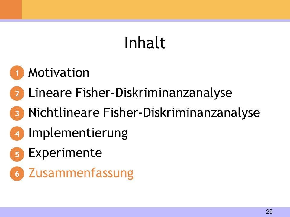29 Inhalt Motivation Lineare Fisher-Diskriminanzanalyse Nichtlineare Fisher-Diskriminanzanalyse Implementierung Experimente Zusammenfassung 1 2 3 4 5