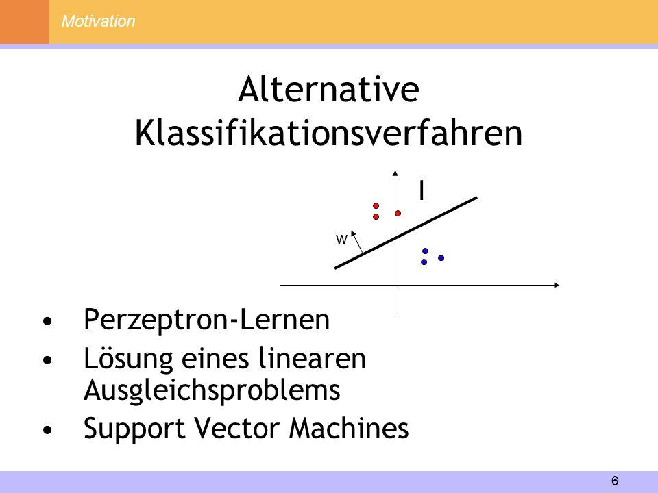 17 Inhalt Motivation Lineare Fisher-Diskriminanzanalyse Nichtlineare Fisher-Diskriminanzanalyse Implementierung Experimente Zusammenfassung 1 2 3 4 5 6