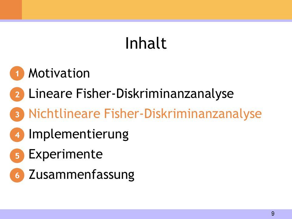 9 Inhalt Motivation Lineare Fisher-Diskriminanzanalyse Nichtlineare Fisher-Diskriminanzanalyse Implementierung Experimente Zusammenfassung 1 2 3 4 5 6