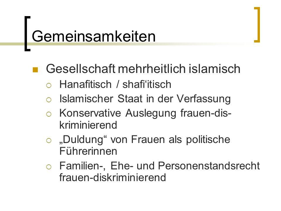 Gemeinsamkeiten Gesellschaft mehrheitlich islamisch  Hanafitisch / shafi'itisch  Islamischer Staat in der Verfassung  Konservative Auslegung frauen