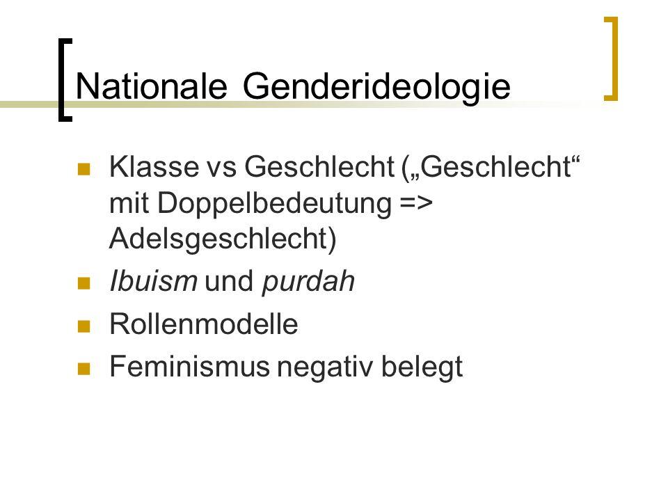 """Nationale Genderideologie Klasse vs Geschlecht (""""Geschlecht"""" mit Doppelbedeutung => Adelsgeschlecht) Ibuism und purdah Rollenmodelle Feminismus negati"""