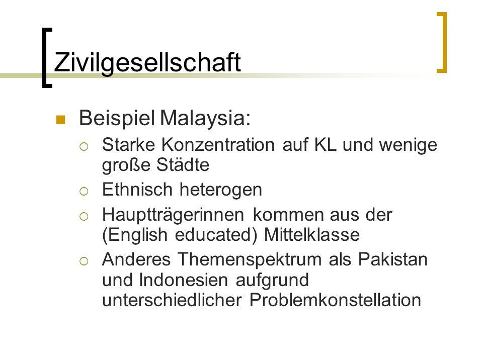 Zivilgesellschaft Beispiel Malaysia:  Starke Konzentration auf KL und wenige große Städte  Ethnisch heterogen  Hauptträgerinnen kommen aus der (Eng