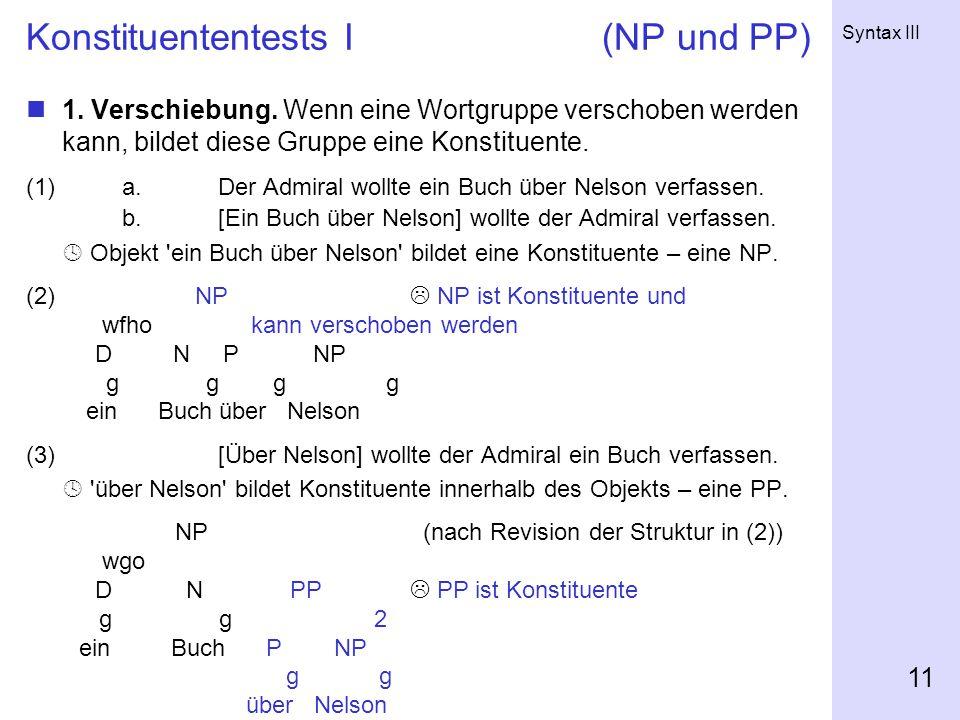Syntax III 11 Konstituententests I(NP und PP) 1.Verschiebung.