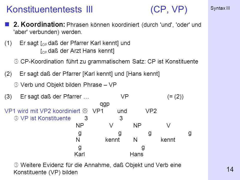 Syntax III 14 Konstituententests III(CP, VP) 2.