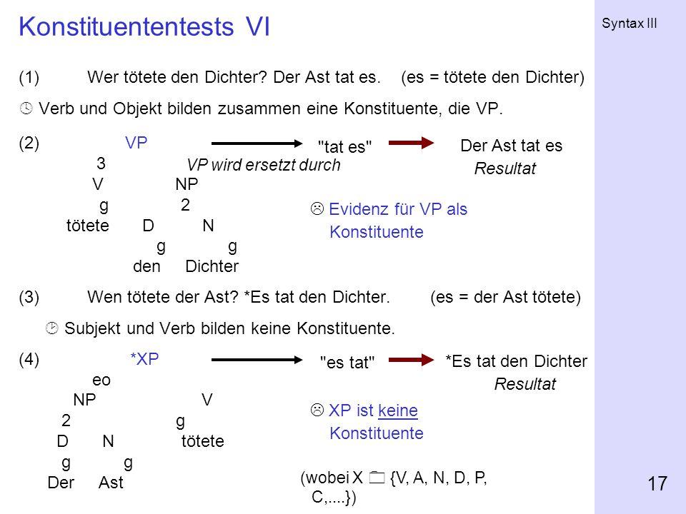 Syntax III 17 Konstituententests VI (1)Wer tötete den Dichter.