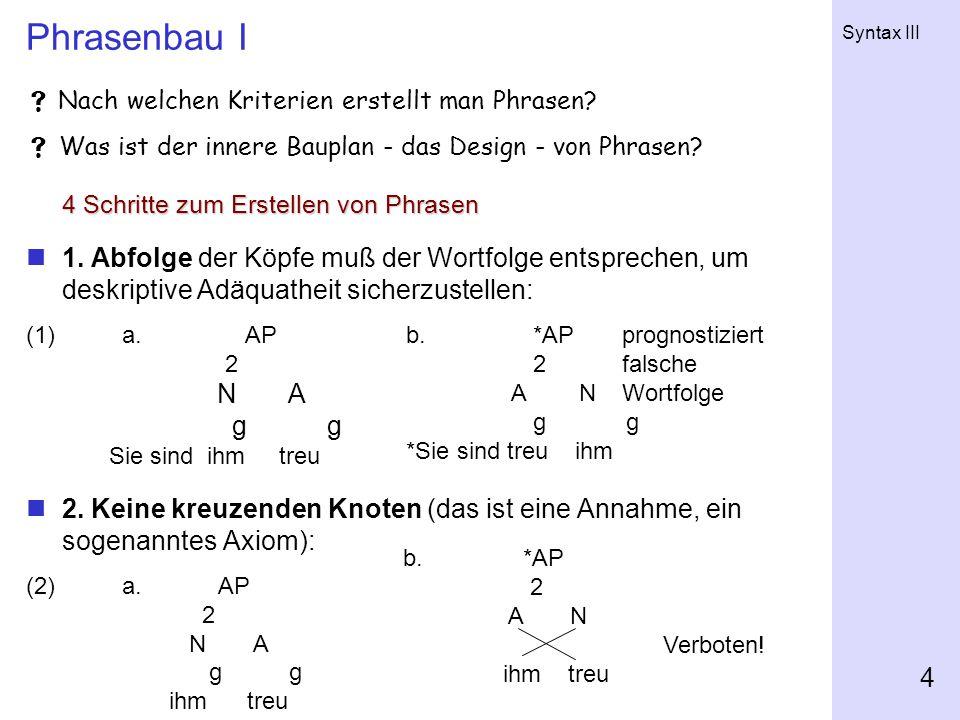 Syntax III 4 Phrasenbau I  Nach welchen Kriterien erstellt man Phrasen.