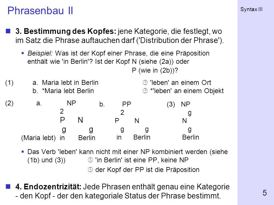 Syntax III 5 Phrasenbau II 3.