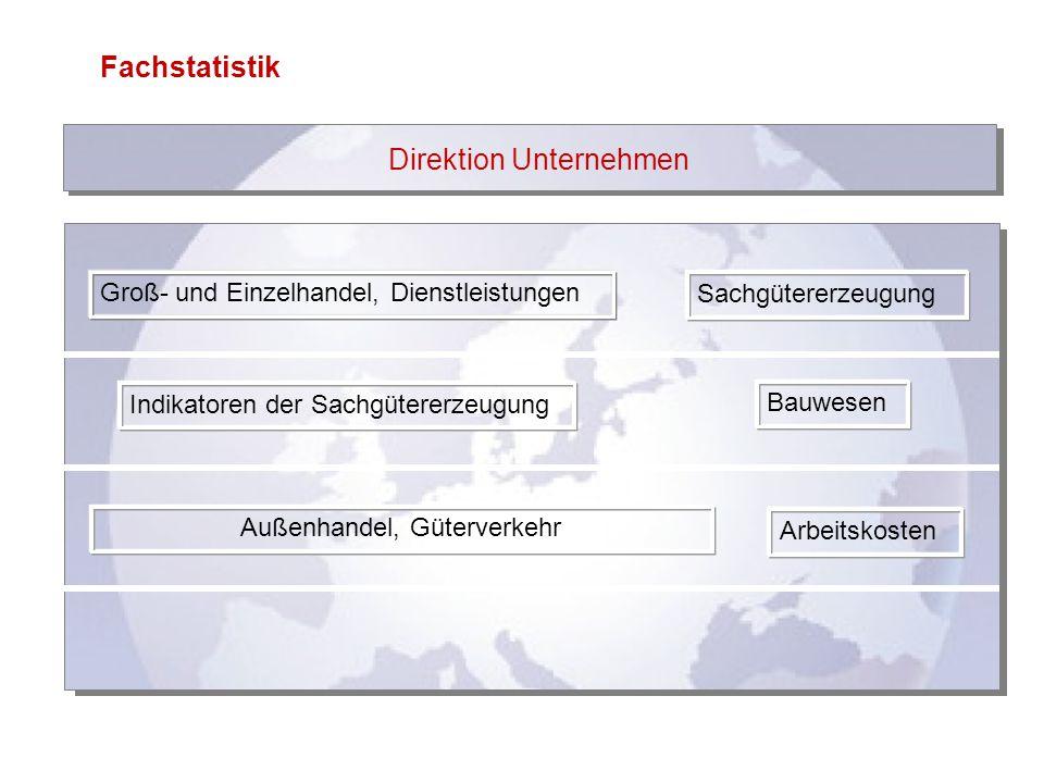 Fachstatistik Direktion Unternehmen Groß- und Einzelhandel, Dienstleistungen Sachgütererzeugung Indikatoren der Sachgütererzeugung Bauwesen Außenhande