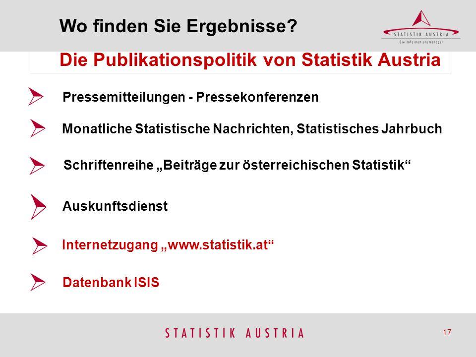 """Pressemitteilungen - Pressekonferenzen Monatliche Statistische Nachrichten, Statistisches Jahrbuch Internetzugang """"www.statistik.at"""" 17 Schriftenreihe"""