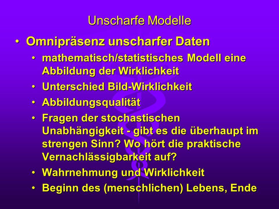 Unscharfe Modelle Omnipräsenz unscharfer DatenOmnipräsenz unscharfer Daten mathematisch/statistisches Modell eine Abbildung der Wirklichkeitmathematis