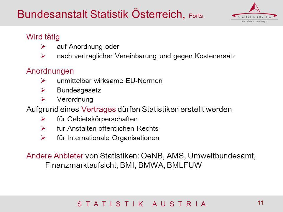 S T A T I S T I K A U S T R I A 11 Bundesanstalt Statistik Österreich, Forts. Wird tätig  auf Anordnung oder  nach vertraglicher Vereinbarung und ge