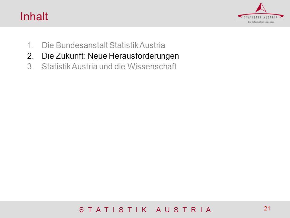 S T A T I S T I K A U S T R I A 21 Inhalt 1.Die Bundesanstalt Statistik Austria 2.Die Zukunft: Neue Herausforderungen 3.Statistik Austria und die Wiss