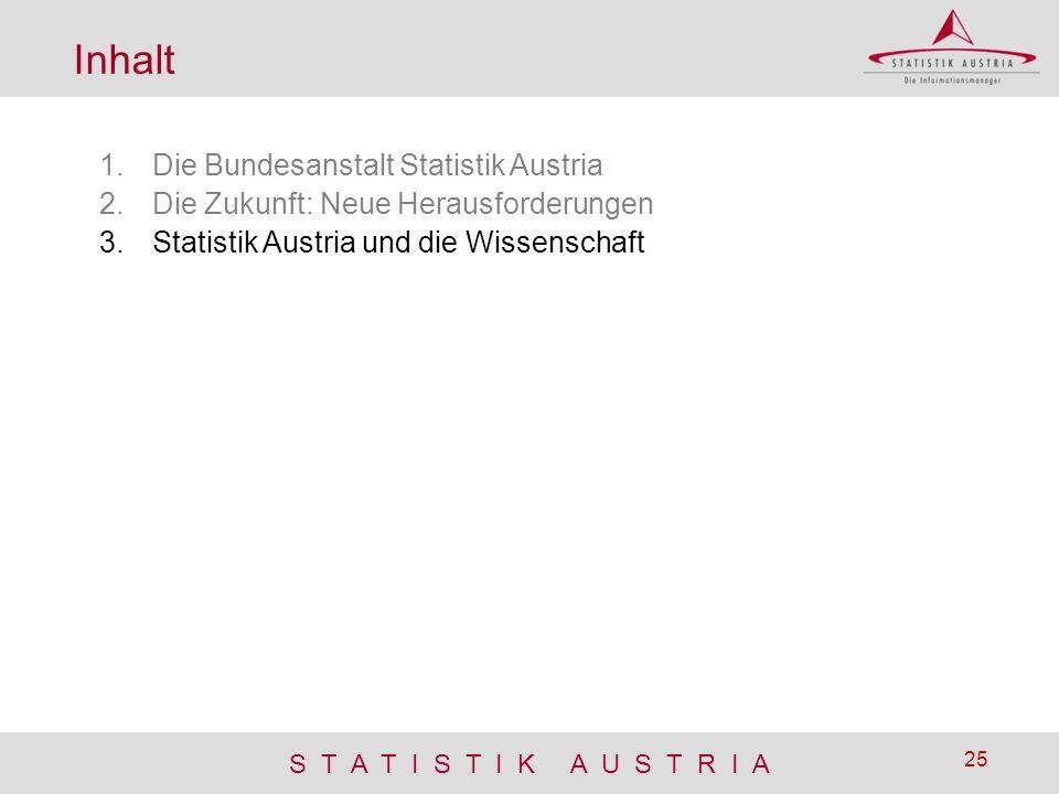 S T A T I S T I K A U S T R I A 25 Inhalt 1.Die Bundesanstalt Statistik Austria 2.Die Zukunft: Neue Herausforderungen 3.Statistik Austria und die Wiss