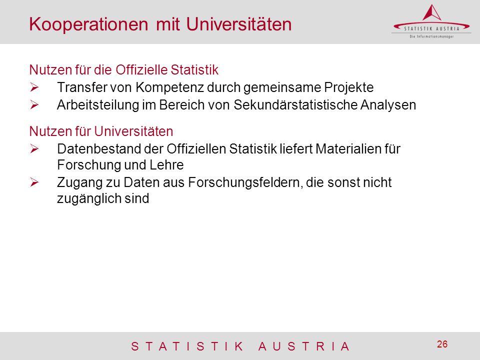 S T A T I S T I K A U S T R I A 26 Kooperationen mit Universitäten Nutzen für die Offizielle Statistik  Transfer von Kompetenz durch gemeinsame Proje