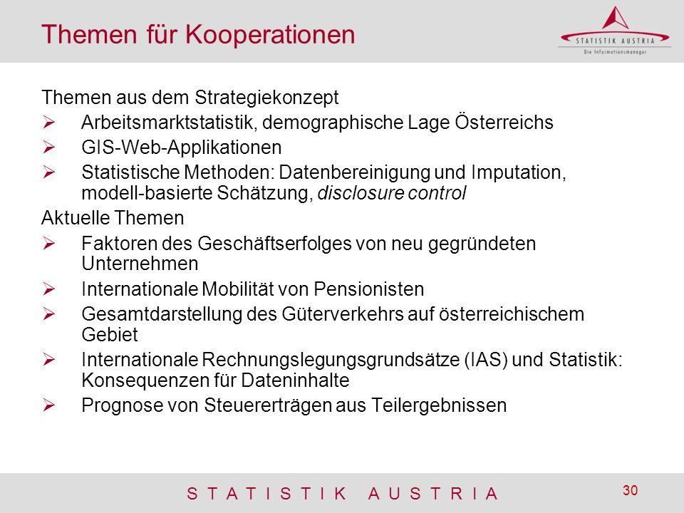 S T A T I S T I K A U S T R I A 30 Themen für Kooperationen Themen aus dem Strategiekonzept  Arbeitsmarktstatistik, demographische Lage Österreichs 