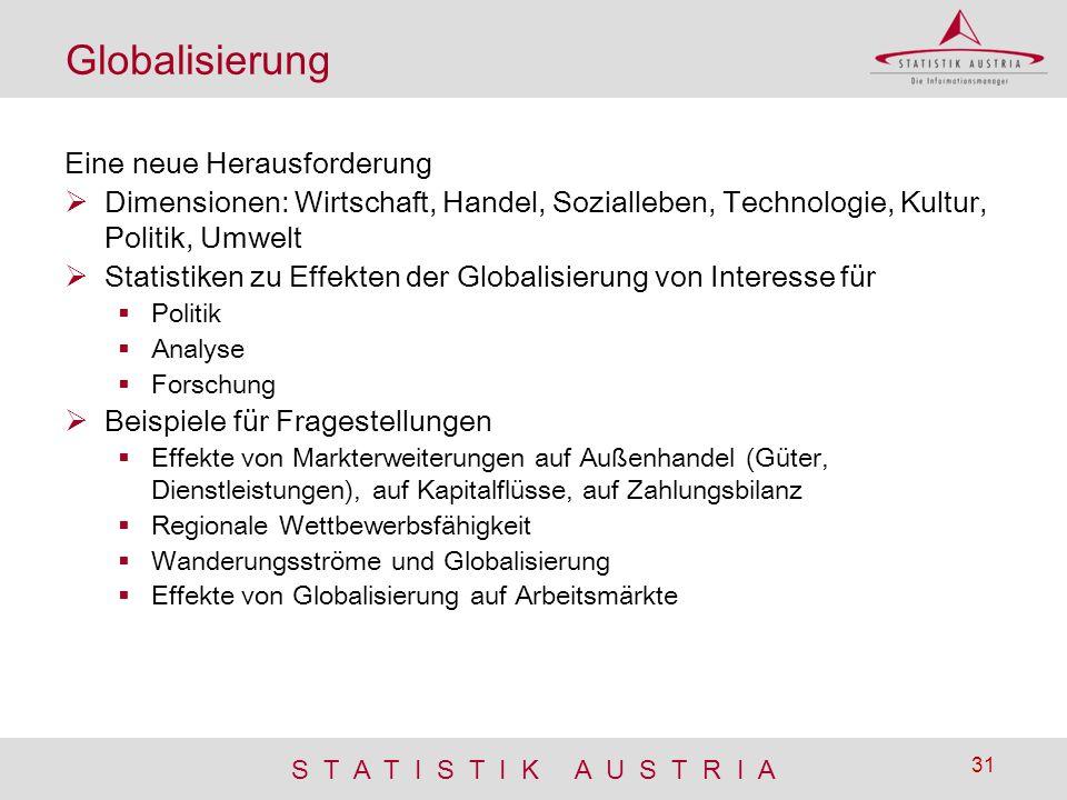S T A T I S T I K A U S T R I A 31 Globalisierung Eine neue Herausforderung  Dimensionen: Wirtschaft, Handel, Sozialleben, Technologie, Kultur, Polit