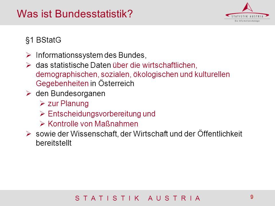 S T A T I S T I K A U S T R I A 9 Was ist Bundesstatistik? §1 BStatG  Informationssystem des Bundes,  das statistische Daten über die wirtschaftlich