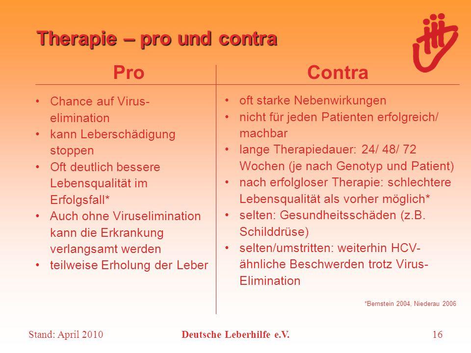 Stand: April 2010Deutsche Leberhilfe e.V.16 Therapie – pro und contra ProContra Chance auf Virus- elimination kann Leberschädigung stoppen Oft deutlic
