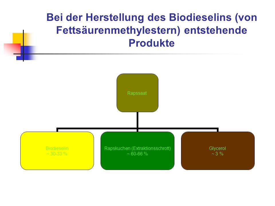 Bei der Herstellung des Biodieselins (von Fettsäurenmethylestern) entstehende Produkte Rapssaat Biodieselin  30-33 % Rapskuchen (Extraktionsschrott)