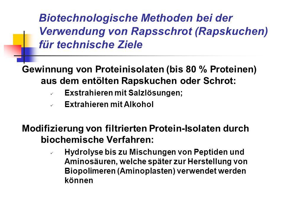 Biotechnologische Methoden bei der Verwendung von Rapsschrot (Rapskuchen) für technische Ziele Gewinnung von Proteinisolaten (bis 80 % Proteinen) aus