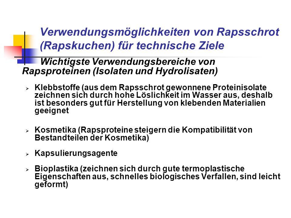 Verwendungsmöglichkeiten von Rapsschrot (Rapskuchen) für technische Ziele Wichtigste Verwendungsbereiche von Rapsproteinen (Isolaten und Hydrolisaten)