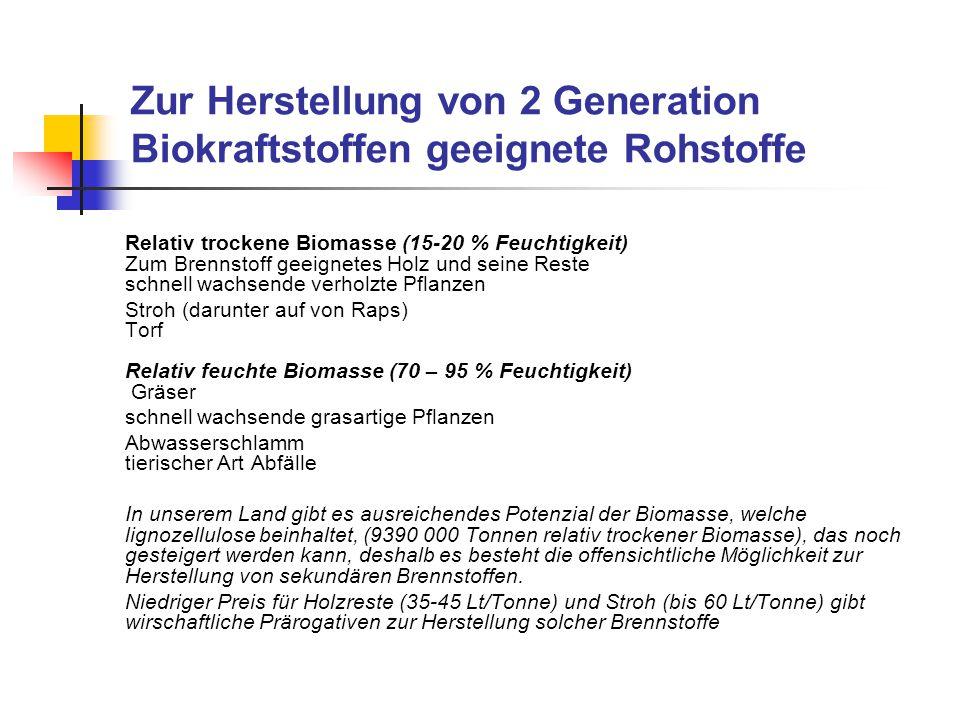Zur Herstellung von 2 Generation Biokraftstoffen geeignete Rohstoffe Relativ trockene Biomasse (15-20 % Feuchtigkeit) Zum Brennstoff geeignetes Holz u